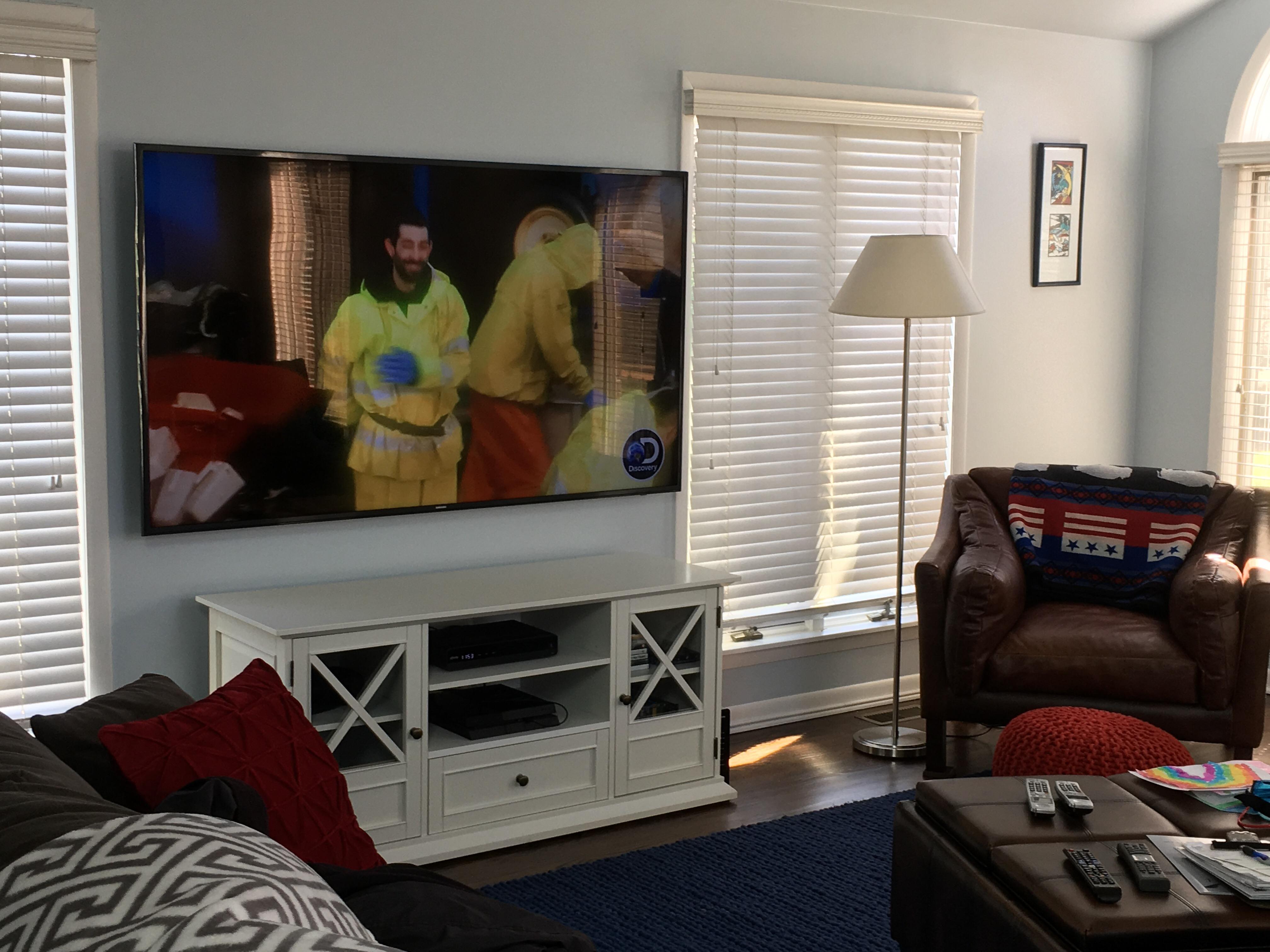 Tv Installation 75 On A Standard Tilt Mount With Concealed Evolution Of Home Wiring